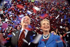 Senator John McCain and Cindy McCain after New Hampshire primary victory, 2000