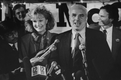 Cindy McCain and Senator John McCain on election night, 1986