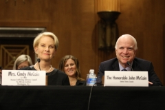 Cindy McCain and Senator John McCain testify at Senate hearing on human trafficking, February 24, 2016