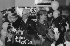 Senator John McCain, Cindy McCain and kids after Senate reelection at Hyatt Regency, November 4, 1992