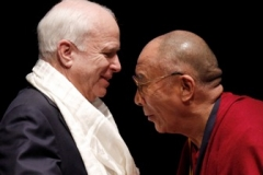 Sen. John McCain, R-Ariz., wearing a Khata presented by the Dalai Lama who had  received the first Lantos Human Rights Prize named for the late Congressman, Tom Lantos, D-Calif. on Capitol Hill in Washington onTuesday, October  6, 2009  (AP Photo/Harry Hamburg)