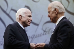 Senator John McCain receives Liberty Medal from former Vice President Joe Biden, October 17, 2017