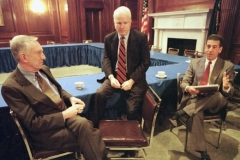 Senators James Jeffords, John McCain and Russ Feingold in the U.S. Capitol Mansfield Room discussing campaign finance reform, March 26, 2001
