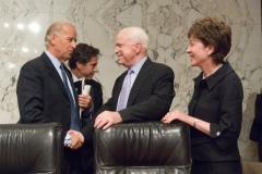 Senators Joe Biden, John McCain and Susan Collins at Senate hearing, 2007
