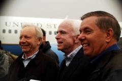 Senators Joe Lieberman, John McCain and Lindsey Graham on Congressional Delegation, 2009
