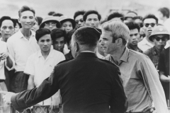 McCain is released from prison in Hanoi, Vietnam with USAF General Russell Ogan, March 14, 1973