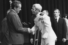 President Richard Nixon greets McCain upon returning home from Vietnam, 1973